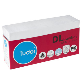 Tudor Envelopes DL Plainface White Pk/100