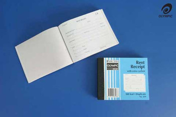 Olympic Rent Receipt Book100x125mm Duplicate #619