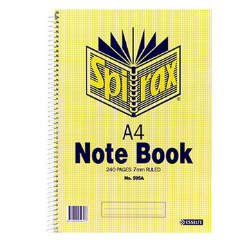 Spirax No.595A Notebook A4 8mm 120 Leaf Side Opening