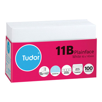 Tudor Envelopes 11B Plainface White Pk/100