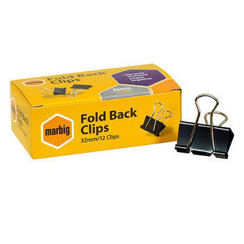 Marbig Fold Back Clips 32mm Box 12