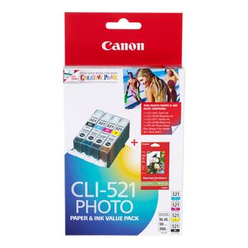 Canon CLI-521 Black & Tri Colour Value Pack