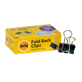 Marbig Fold Back Clips 19mm Black 87070 Box 12