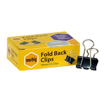 Marbig Fold Back Clips 19mm Black 87070 Box 12