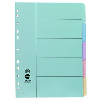Marbig Dividers Manilla A4 Pastel Colours 5 Tab