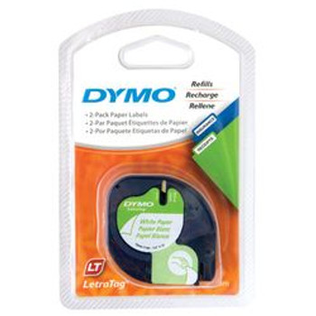Dymo LetraTag Black on White Paper Tape 12mm x 4m Pk/2 SD92630