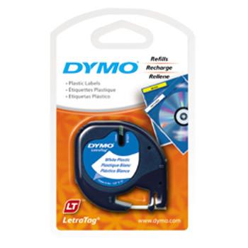 Dymo LetraTag White Plastic Tape 12mm x 4m