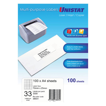 UNISTAT 38931 Laser Inkjet & Copier Labels 70 x 25mm 33 Labels/Sheet 3300 Labels/Pk