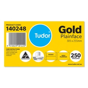 Tudor Envelopes 305 x 255 Plainface Peel-N- Seal Gold Box 250