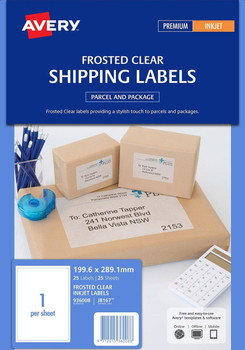 Avery J8567-25 Frosted Clear Inkjet Shipping Labels Clear 1/Sheet 25 Pack