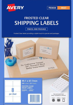 Avery J8565 Inkjet Shipping Labels Clear 25 Sheets 8 Per Page
