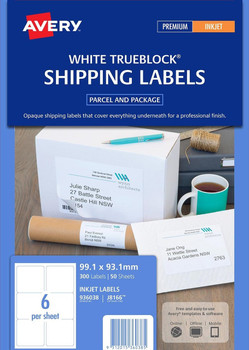 Avery White Parcel Labels ( J8166) 99.1 x 93.1 mm pack 300