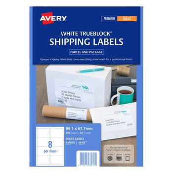 Avery White Parcel Labels ( J8165) 99.1 x 67.7 mm 400/Pack