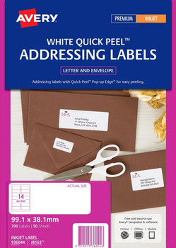Avery White Address Labels (J8163) 99.1 x 38.1mm Pk/700