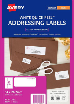 Avery Mailing Inkjet Labels (J8158) 30up White 1500/Pack