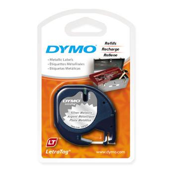 Dymo LetraTag Metallic Silver Tape 12mm x 4m SD91208