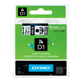 Dymo D1 Black on Clear Tape 12mm x 7m SD45010