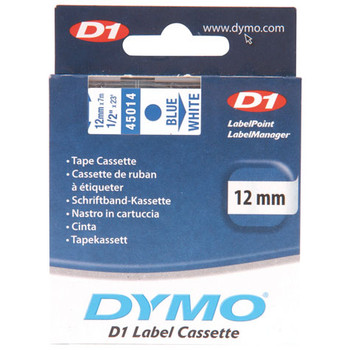 Dymo D1 Blue on White Tape 12mm x 7m SD45014