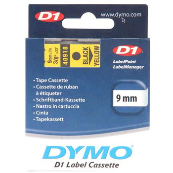 Dymo D1 Black on Yellow Tape 9mm x 7m SD40918
