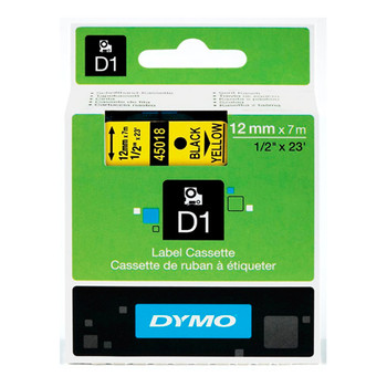 Dymo D1 Black on Yellow Tape 12mm x 7m SD45018