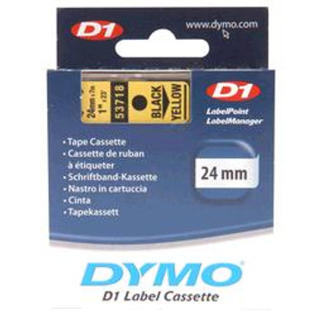 Dymo D1 Black on Yellow Tape 24mm x 7m SD53718