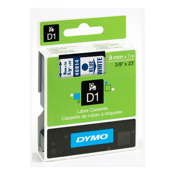 Dymo D1 Blue on White Tape 9mm x 7m SD40914