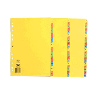 Marbig A4 Bright Colour Dividers, 1-12 Tab Index