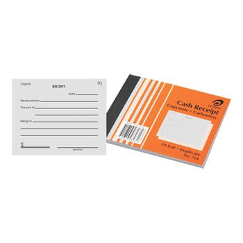 Olympic Cash Receipt Book Carbonless Duplicate #714