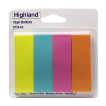 3M 6719-4A Highland Page Markers 22 X 73mm Assorted