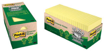 3M 654R-24CP-CY Post-it 100% Recycled Notes Yellow 24Pads