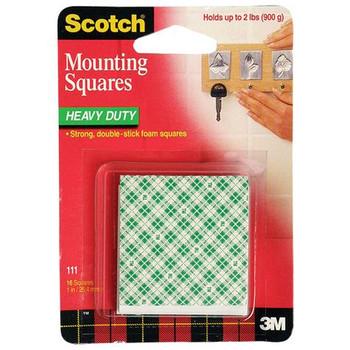 3M 111 Scotch Foam Mounting Squares 25.4mm Pk/16