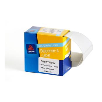 Avery Dispenser Labels White Rectangle 35x49mm