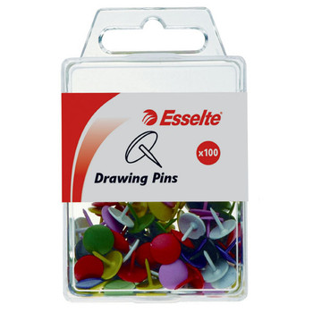 Esselte Drawing Pins Assorted Colours Pk/100