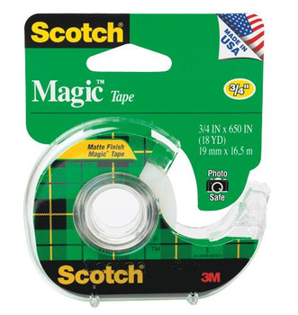 Scotch 122 Magic Invisible Tape & Disp 19mm x 16.5m