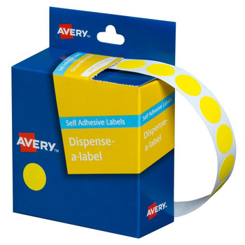 Avery Dispenser Label Yellow Circle 14mm 1050/Pack