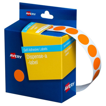 Avery Dispenser Label Orange Circle 14mm 1050/Pack