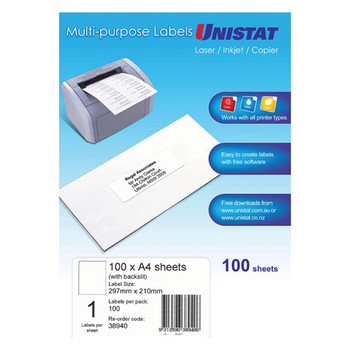 UNISTAT 38940 Laser Inkjet & Copier Labels 297 x 210mm 1 Label/Sheet 100 Labels/Pk With Backslit