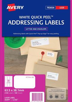 Avery White Address Labels Matte (L7160) 63.5 x 38.1mm Pk/2100