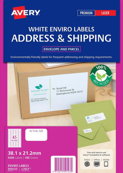 Avery L7651EV Enviro Laser Labels 65UP Pack 100