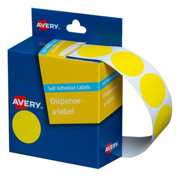 Avery Dispenser Label Yellow Circle 24mm 500/Pack