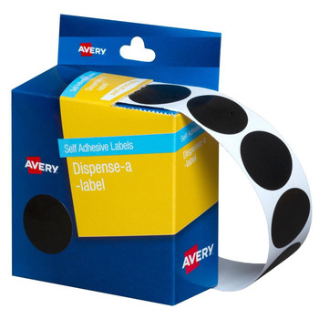 Avery Dispenser Label Black Circle 24mm 500/Pack 937250
