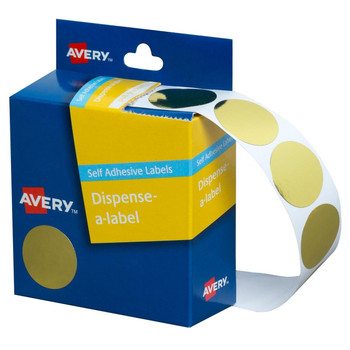 Avery Dispenser Label Gold Circle 24mm Pk/250