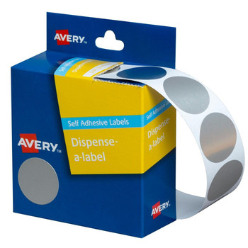 Avery Dispenser Labels Silver Circle 24 mm 250/Pack
