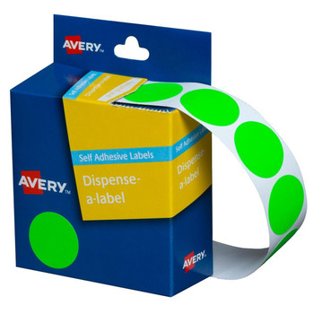 Avery Dispenser Labels Fluoro Green Circle 24 mm 350/Pack