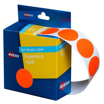 Avery Dispenser Labels Fluoro Red Circle 24 mm 350/Pack