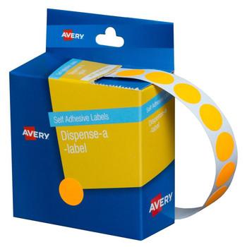Avery Dispenser Labels Fluoro Orange Circle 14 mm 700/Pack