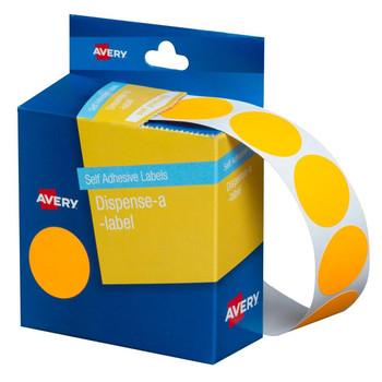 Avery Dispenser Labels Fluoro Orange Circle 24 mm 350/Pack 937301