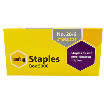 Marbig 26/6 staples Box 5000