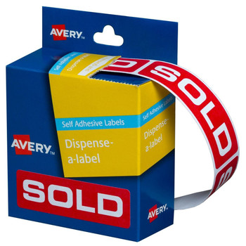 Avery Pre-printed Dispenser Labels 'Sold' 19 x 64 mm 250/Pack