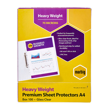 Marbig Sheet Protector 25100 A4 Heavy Weight Box 100